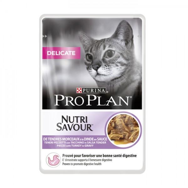 Pro Plan Cat NutriSavour Delicate κομματάκια Γαλοπούλας σε σάλτσα 85gr Super Premium Τροφές