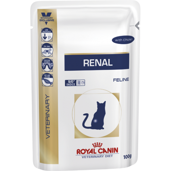 Royal Canin Veterinary Diet - Renal with Chicken - Pouch (85gr Υγρή τροφή/Φακελάκι) Τροφές