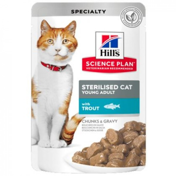 Hill's Science Plan Sterilised Cat Young Adult με Πέστροφα 85gr Super Premium Τροφές